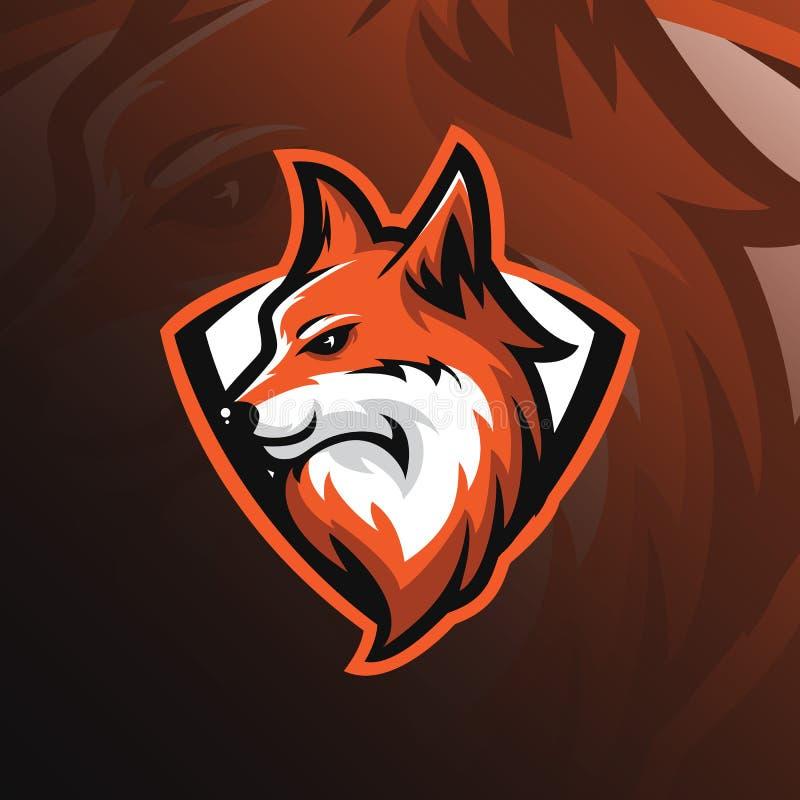 Vettore di progettazione della mascotte di logo di Fox con stile dell'emblema e moderno volpe illustrazione di stock