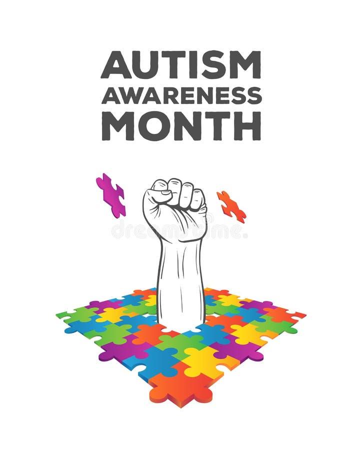 Vettore di progettazione di consapevolezza di autismo illustrazione vettoriale