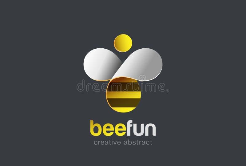 Vettore di progettazione di logo dell'ape Icona dell'alveare Logotype creativo del carattere illustrazione di stock