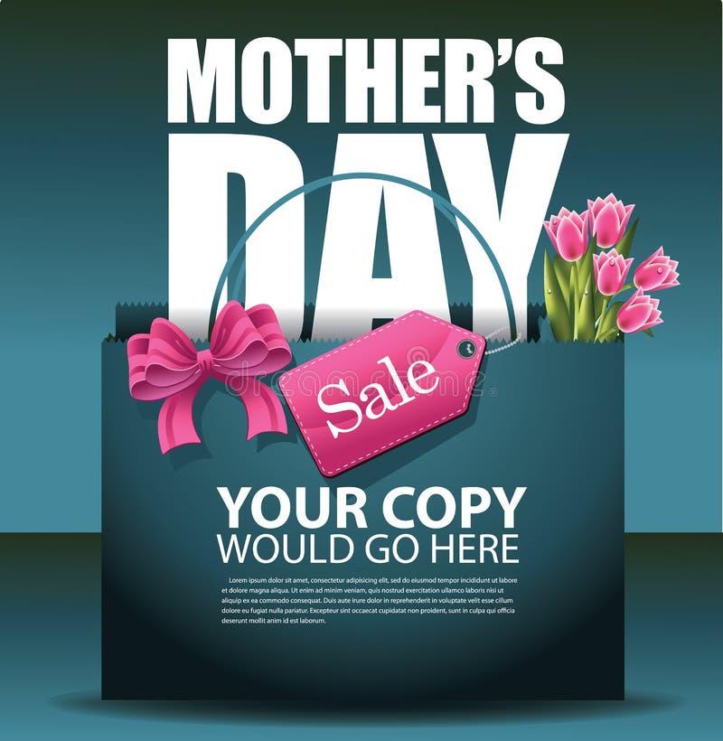 Vettore di progettazione ENV 10 del sacchetto della spesa di vendita di giorno di madri illustrazione vettoriale