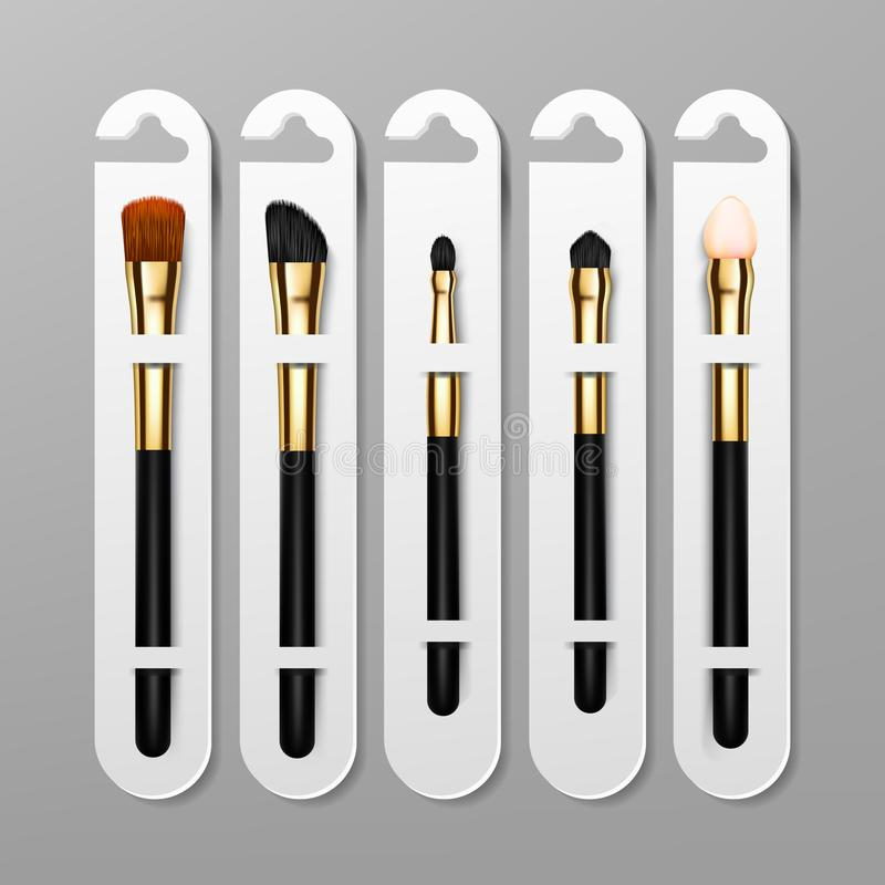 Vettore di progettazione di imballaggio della spazzola di trucco Applicazione femminile Raccolta dell'attrezzatura Bella carnagio illustrazione vettoriale