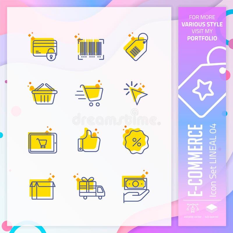Vettore di progettazione di insieme dell'icona di commercio elettronico con la linea sul concetto semplice Icona di compera linea royalty illustrazione gratis