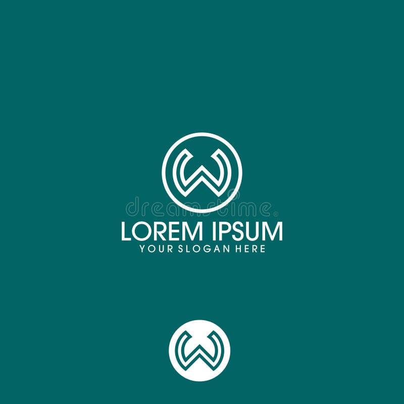 Vettore di progettazione di logo della lettera di W con il cerchio illustrazione vettoriale