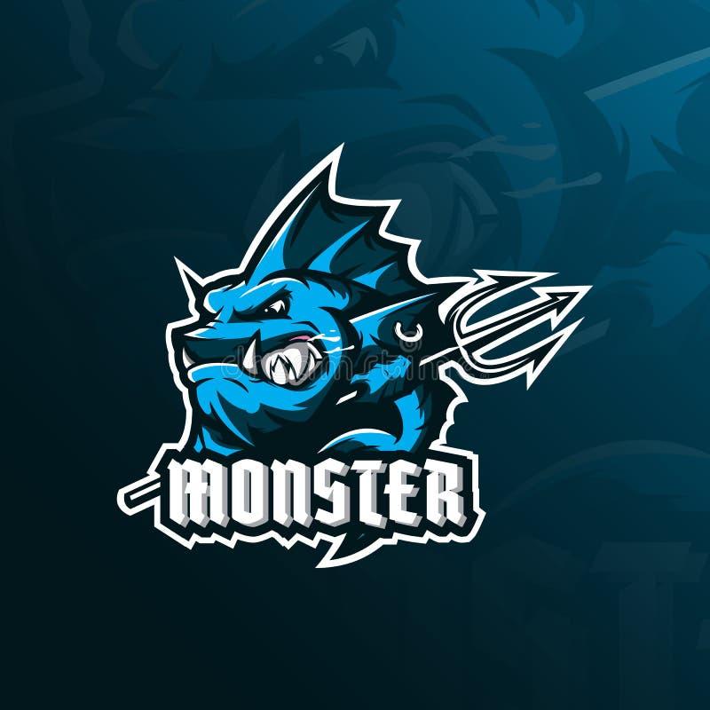 Vettore di progettazione di logo della mascotte del pesce del mostro con stile moderno di concetto dell'illustrazione per stampa  illustrazione vettoriale