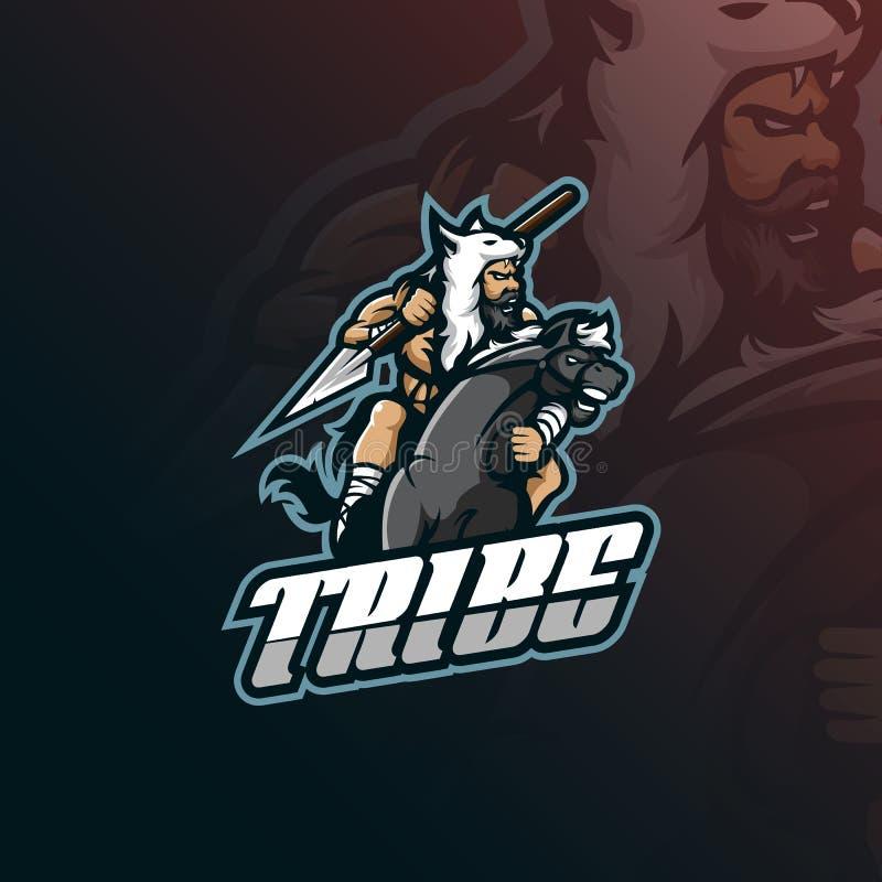 Vettore di progettazione di logo della mascotte della tribù con stile moderno di concetto dell'illustrazione per stampa del disti royalty illustrazione gratis
