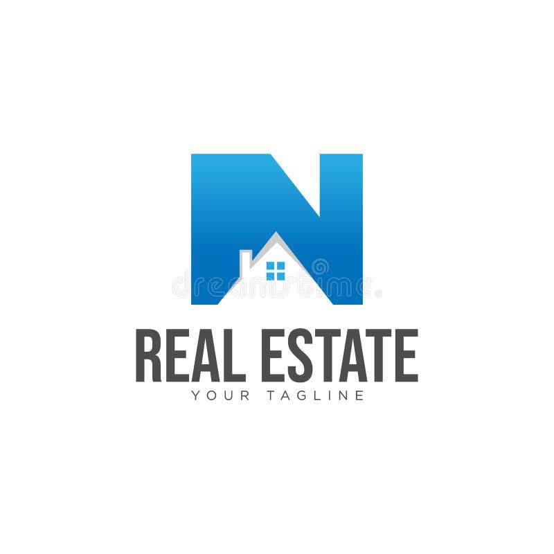 Vettore di progettazione di logo della società immobiliare della lettera n iniziale royalty illustrazione gratis