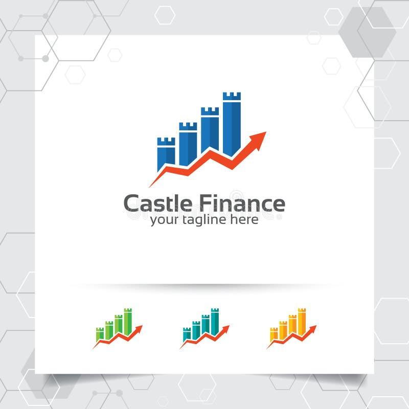 Vettore di progettazione di logo di finanza di affari con il simbolo dell'icona di analisi del grafico Illustrazione finanziaria  illustrazione vettoriale