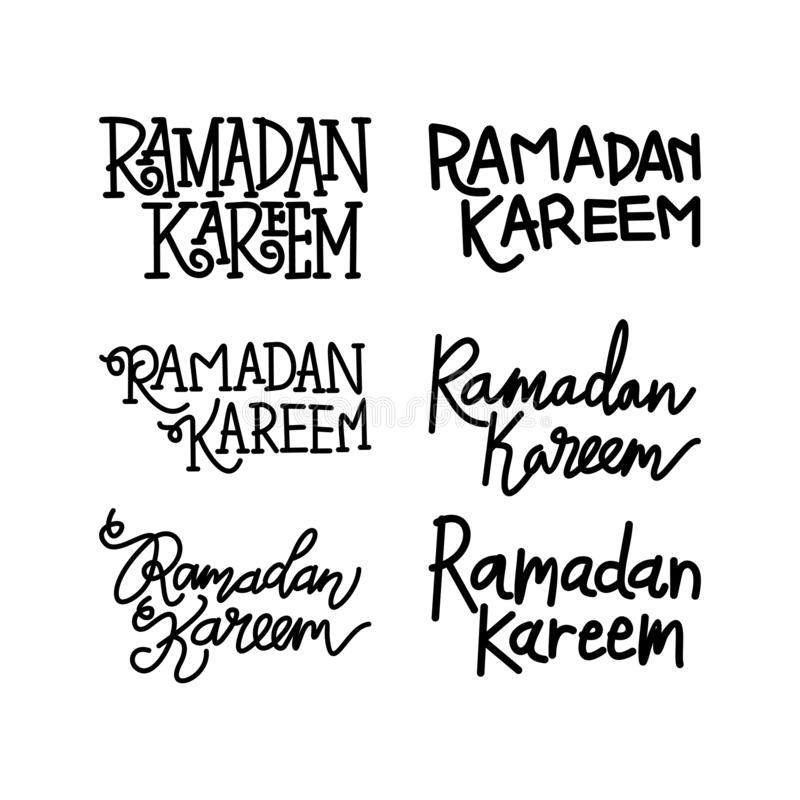 Vettore di Ramadan Kareem Text Handwritten Set Template illustrazione vettoriale