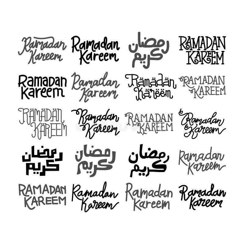 Vettore di Ramadan Kareem Text Handwritten Set Template royalty illustrazione gratis