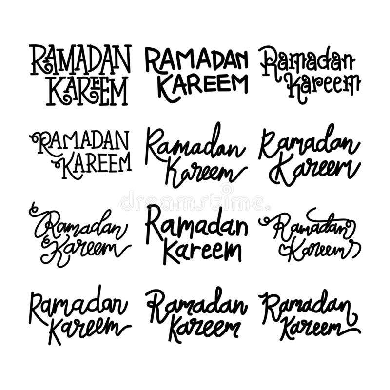 Vettore di Ramadan Kareem Text Handwritten Set Template illustrazione vettoriale