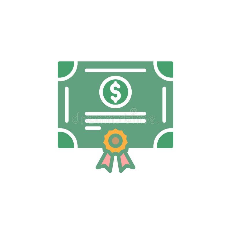 Vettore di riserva dell'icona del certificato azionario, segno piano riempito, pittogramma variopinto solido isolato su bianco illustrazione vettoriale