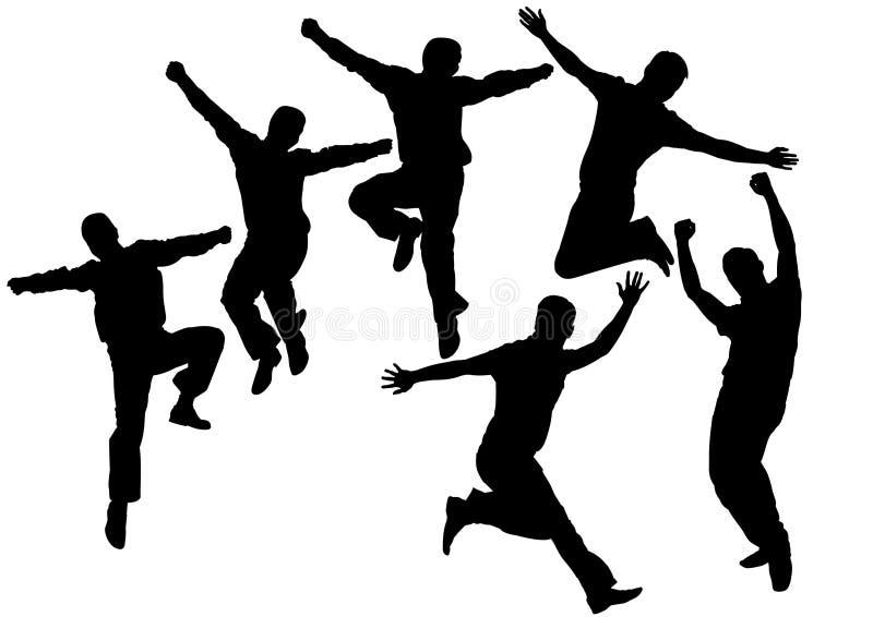 Vettore di salto della siluetta della gente illustrazione di stock