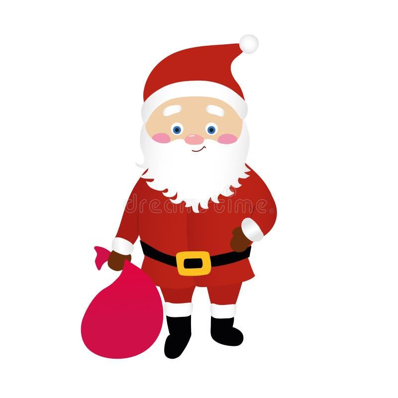 Vettore di Santa Claus del fumetto isolato su fondo bianco, carattere sveglio che tiene una borsa con i regali immagini stock