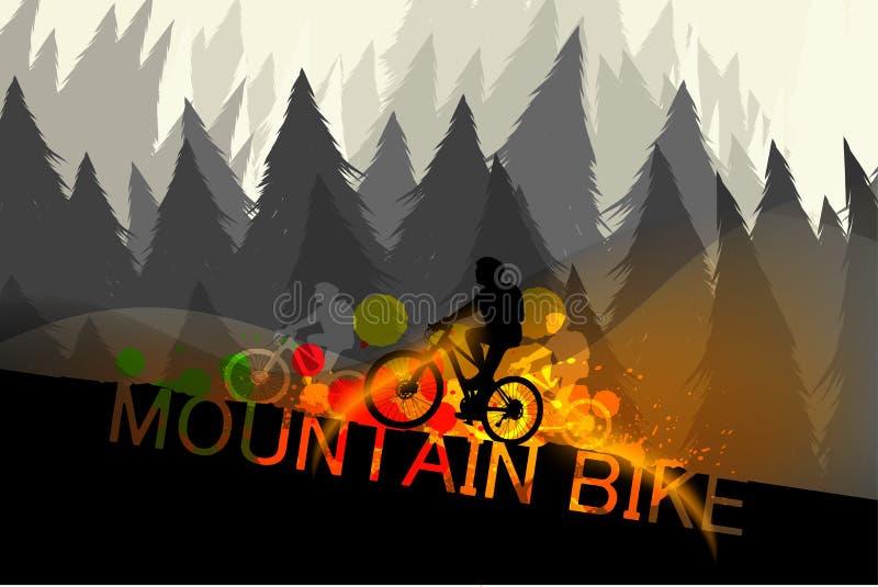 Vettore di scena del mountain bike illustrazione di stock