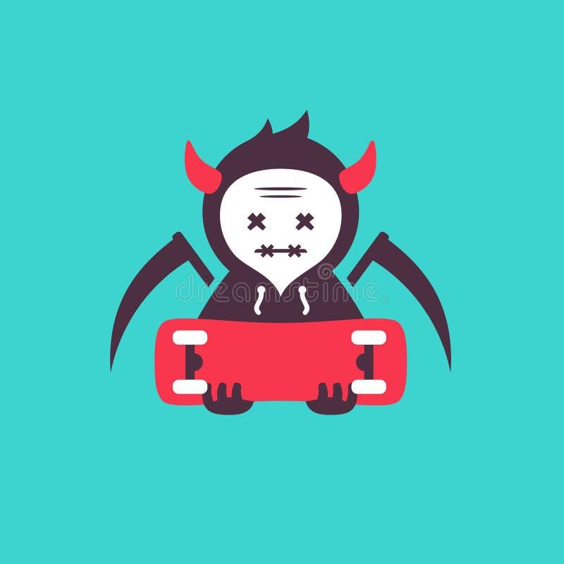 Vettore di scheletro del pattinatore di morte illustrazione di stock