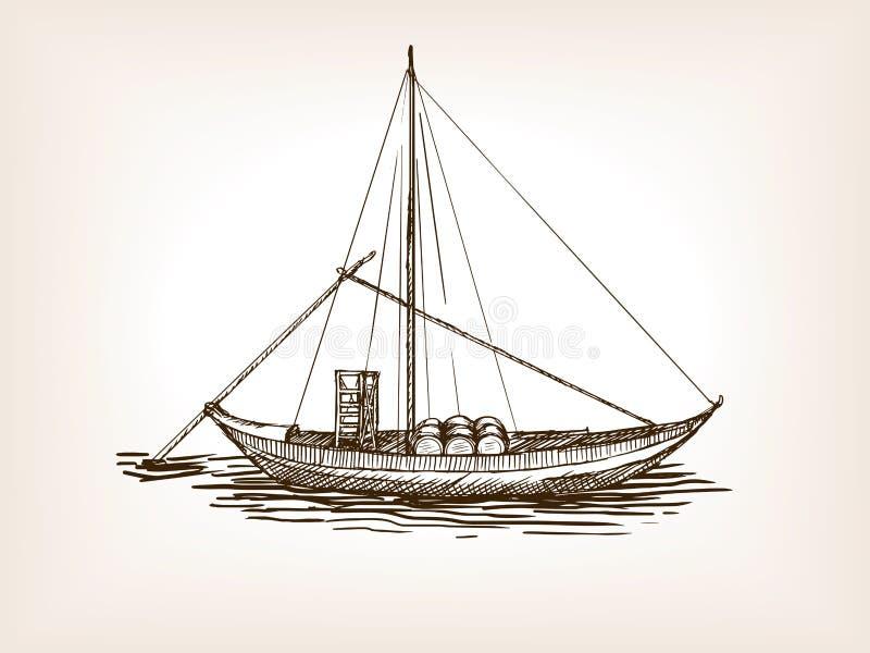 Vettore di schizzo dei barilotti di vino della nave di navigazione illustrazione vettoriale