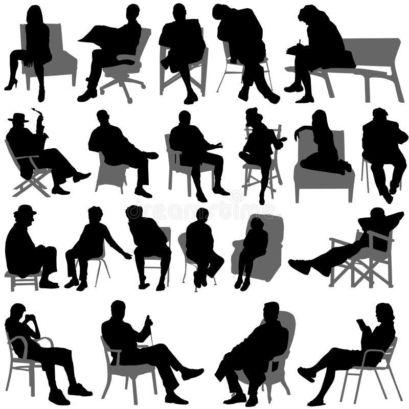 Vettore di seduta della gente illustrazione vettoriale