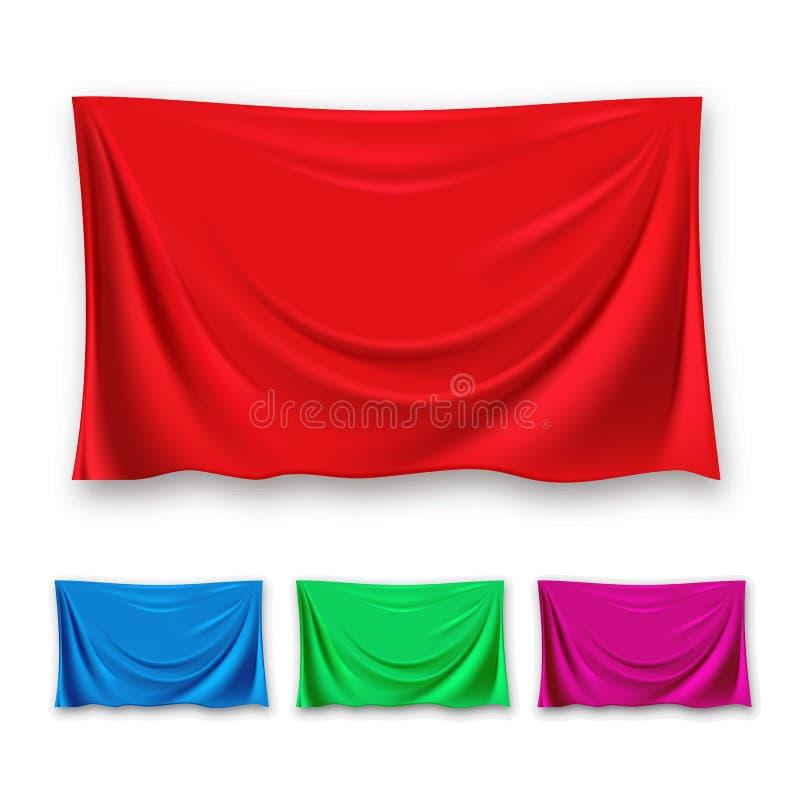 Vettore di seta rosso dell'insieme del panno Forma di ondeggiamento del panno del tessuto Per la presentazione bandiera Drappi di illustrazione vettoriale