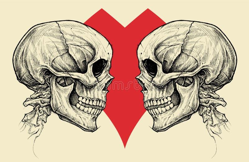 Vettore di simbolo dei crani e del cuore delle coppie illustrazione vettoriale