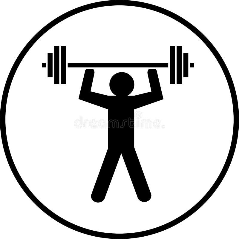 Vettore di simbolo del costruttore di corpo di sollevamento dei pesi illustrazione di stock