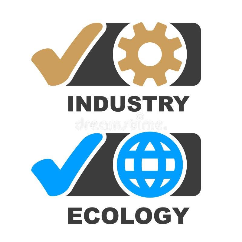 Vettore di simbolo di ecologia di industria del segno di spunta illustrazione vettoriale