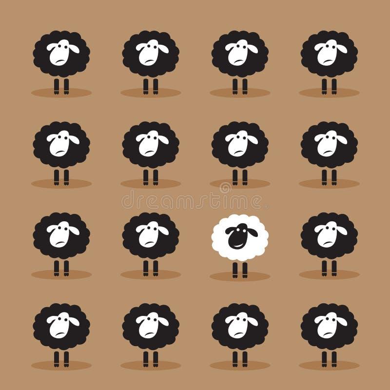 Vettore di singole pecore bianche nel gruppo delle pecore nere illustrazione vettoriale