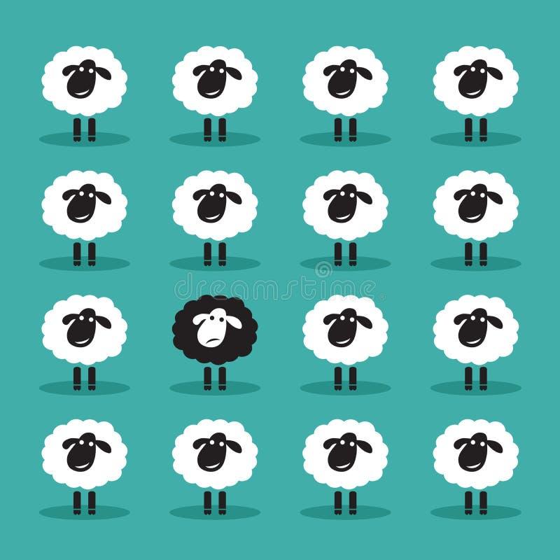 Vettore di singole pecore nere nel gruppo delle pecore bianche illustrazione di stock