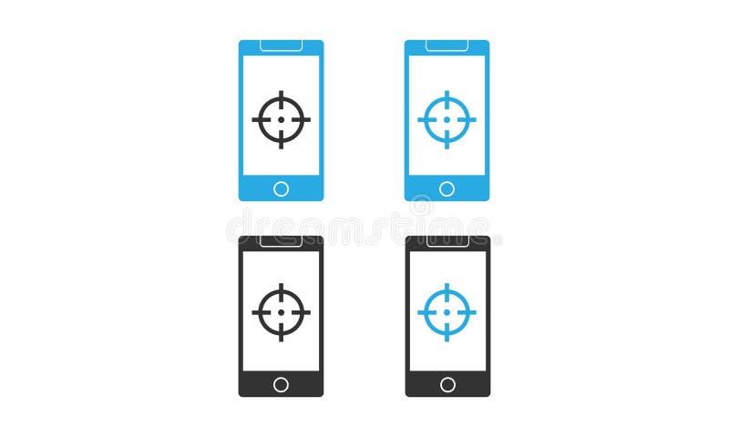 Vettore di Smartphone con l'icona dell'obiettivo concetto differente dell'icona di vettore dello smartphone di colore royalty illustrazione gratis