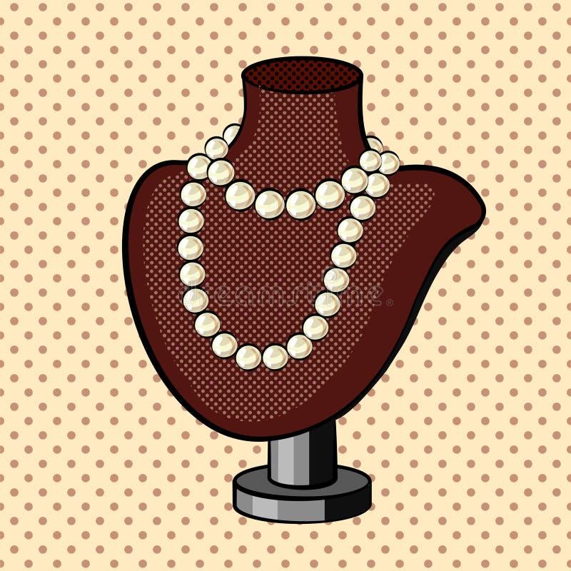 Vettore di stile del libro di fumetti della collana della perla illustrazione di stock