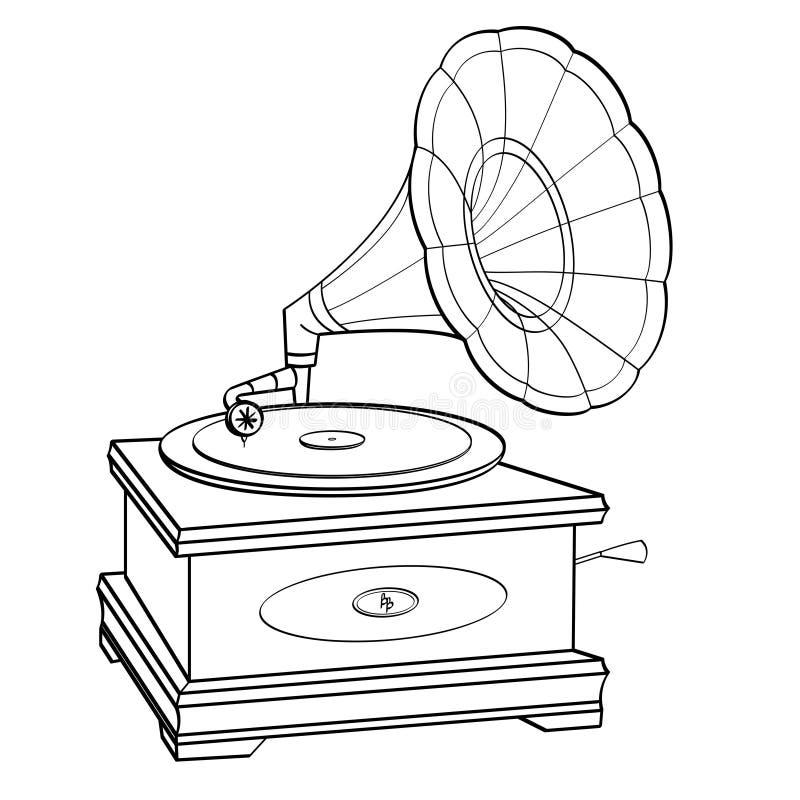 Vettore di stile del libro di fumetti del grammofono retro Oggetto isolato Bambini e coloritura adulta, linee nere, fondo bianco illustrazione di stock