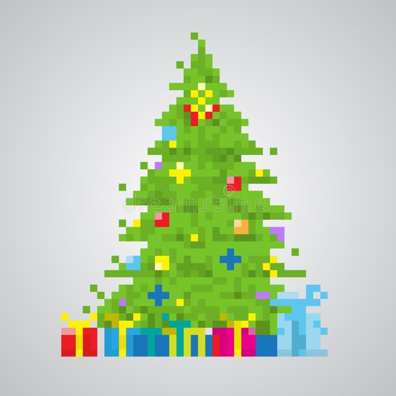 Vettore di stile del pixel di 8 bit dell'albero di Natale illustrazione vettoriale