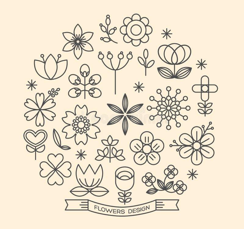 Vettore di stile del profilo delle icone del fiore illustrazione di stock