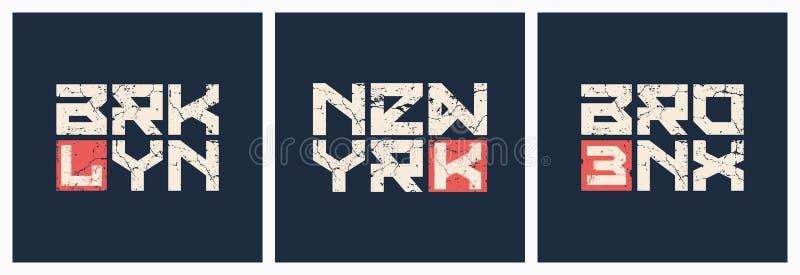 Vettore di stile di lerciume della maglietta e dell'abito di Brooklyn Bronx New York royalty illustrazione gratis