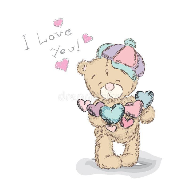 Vettore di Teddy Bear St Giorno del biglietto di S Vector l'illustrazione per una cartolina d'auguri, un manifesto, o una stampa  illustrazione di stock