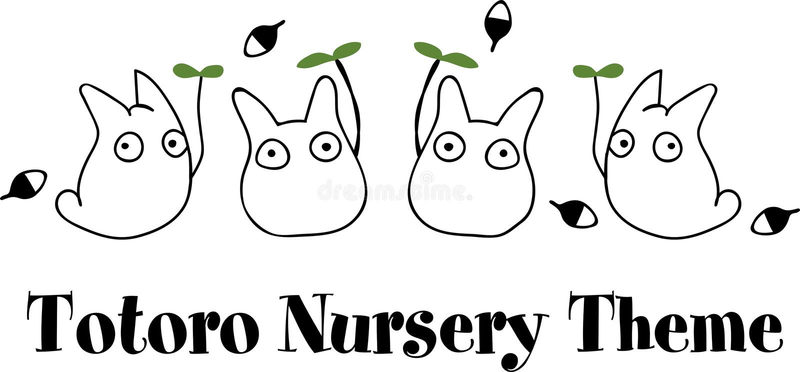 Vettore di tema della scuola materna di Totoro fotografie stock libere da diritti
