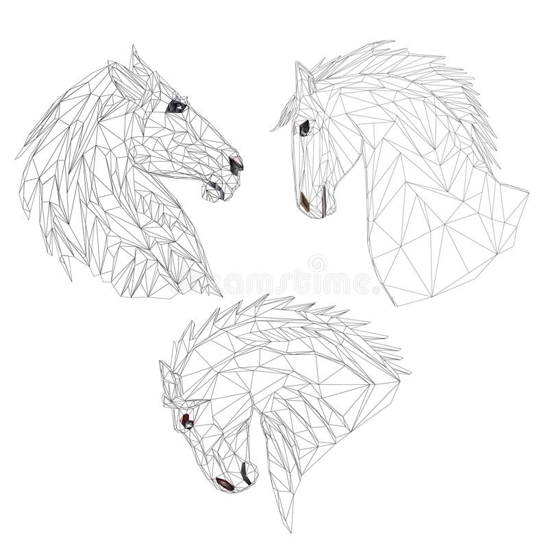 Vettore di tiraggio della mano del profilo dei poligoni delle teste di cavalli illustrazione di stock