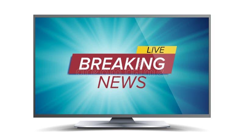 Vettore di ultime notizie Schermo blu della TV Concetto globale di notizie del mondo Illustrazione isolata illustrazione di stock