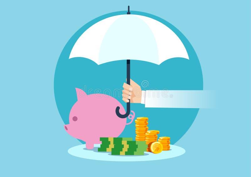 Vettore di un ombrello della tenuta della mano per proteggere soldi illustrazione vettoriale