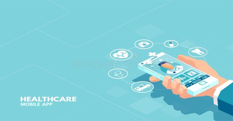 Vettore di un paziente che usando applicazione dello smartphone che comunica con medico professionista online illustrazione di stock