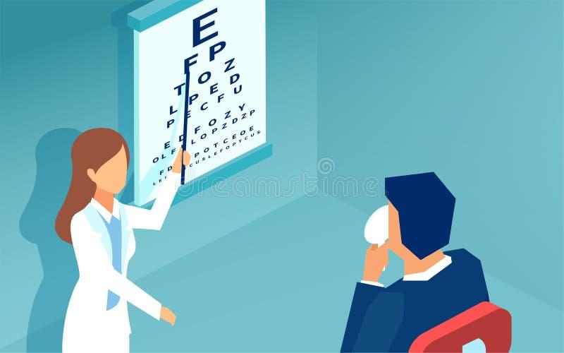 Vettore di un paziente d'esame dell'oftalmologo della donna che usando un grafico di Snellen illustrazione vettoriale