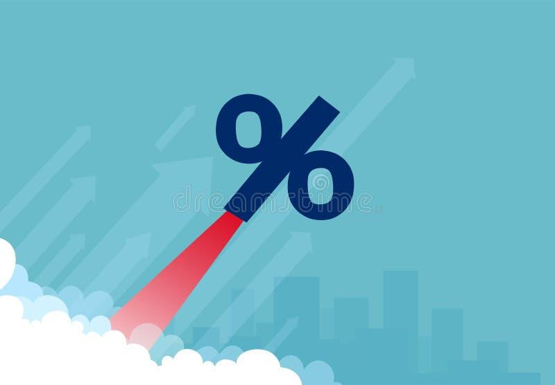 Vettore di un simbolo di percentuale del razzo che vola su illustrazione di stock