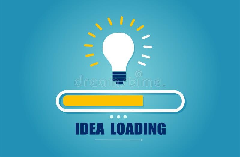Vettore di una barra di carico quasi completa con la lampadina di idea illustrazione di stock