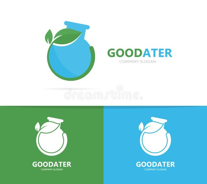 Vettore di una combinazione di logo della foglia e della boccetta Laboratorio e simbolo o icona di eco Scienza e naturale unici,  royalty illustrazione gratis