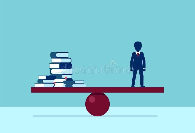 Vettore di una pila d'equilibratura dell'uomo d'affari istruito di libri royalty illustrazione gratis