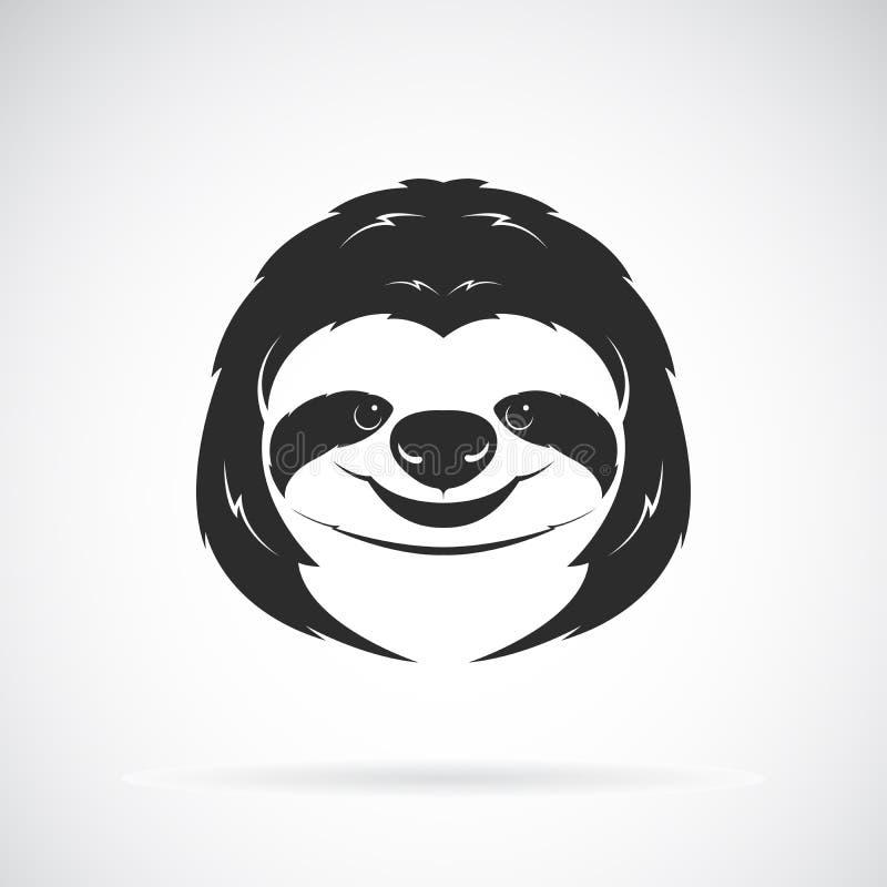 Vettore di una progettazione della testa di bradipo su fondo bianco Animali selvatici illustrazione di stock
