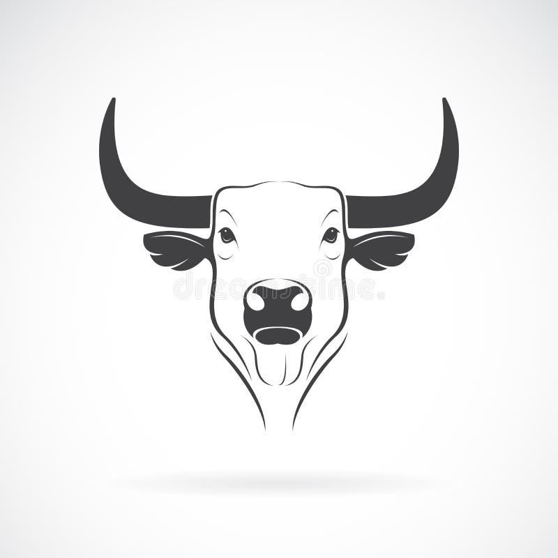Vettore di una progettazione della testa del toro su fondo bianco Animali selvatici Logo o icona del toro Illustrazione stratific royalty illustrazione gratis