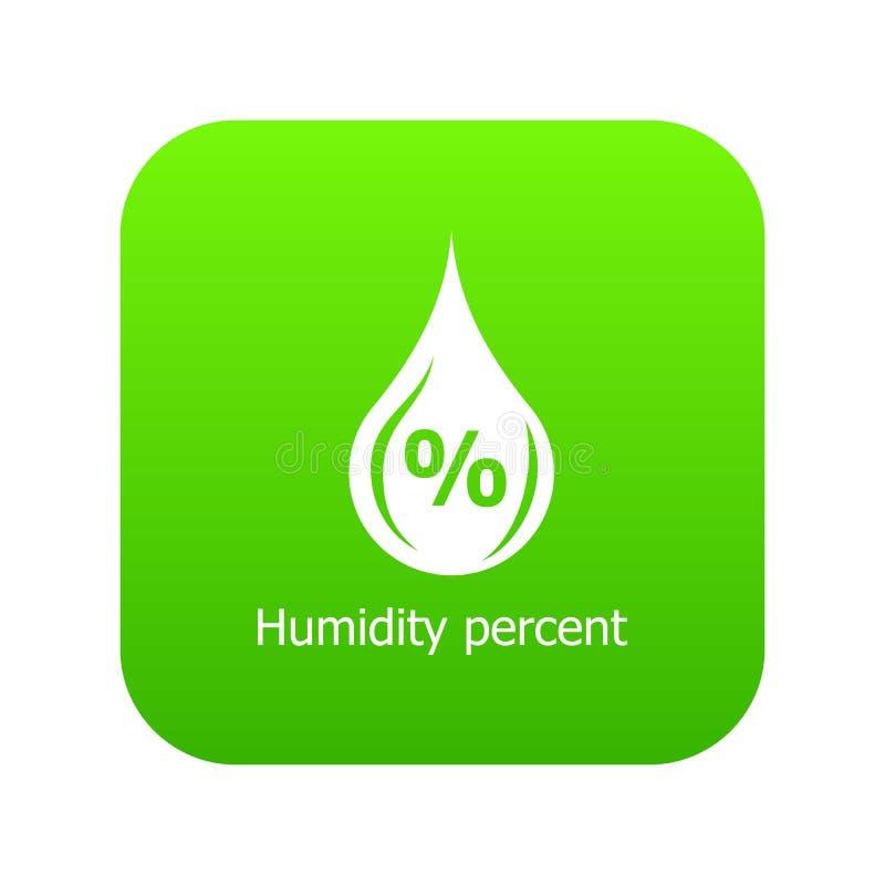 Vettore di verde dell'icona delle percentuali di umidità illustrazione di stock