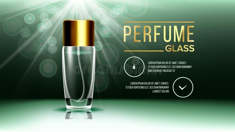 Vettore di vetro cosmetico dell'insegna Bottiglia Cura del fronte Fragranza, collagene modello realistico trasparente del modello illustrazione di stock
