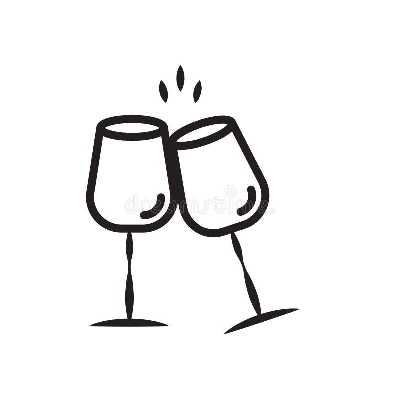 Vettore di vetro dell'icona del vino isolato sul segno bianco di vetro di vino, del fondo, sul simbolo lineare e sugli elementi d illustrazione di stock