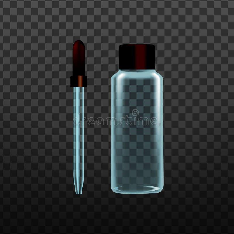 Vettore di vetro della pipetta dello strumento realistico del laboratorio illustrazione vettoriale